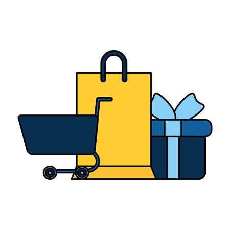 Einkaufswagen mit Geschenken und Einkaufstüten Vektorgrafik