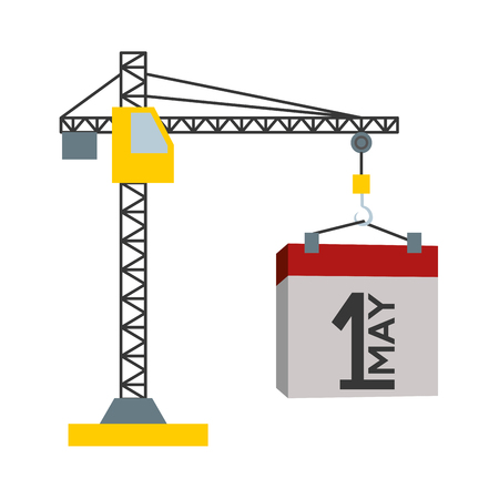 happy labour day calendar and crane vector illustration
