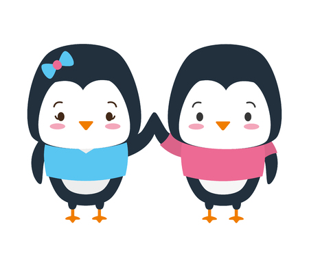 cute couple penguin animal cartoon vector illustration design 版權商用圖片 - 122946866