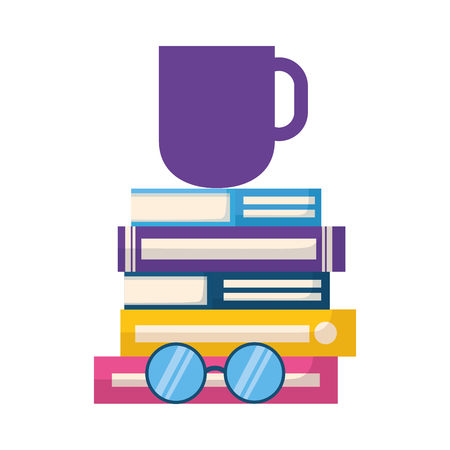 stack of books with lenses isolated icon vector illustration design Illustration