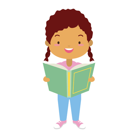 girl holding textbook - world book day vector illustration Banco de Imagens - 122946891