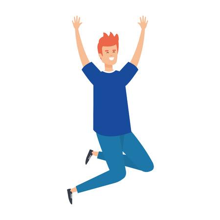 young man celebrating character vector illustration design