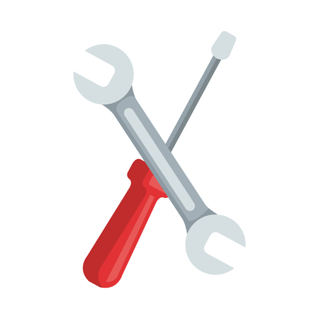 wrench and screwdriver tools vector illustration design Çizim