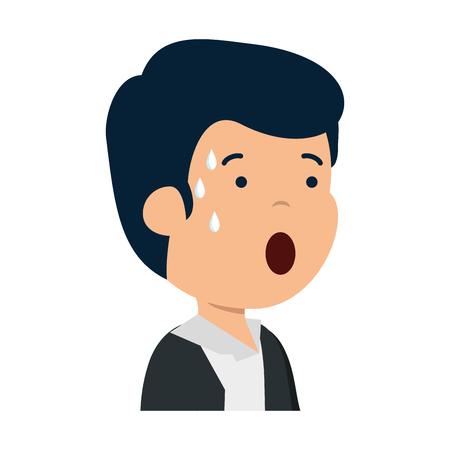 young sad man sweating character vector illustration design