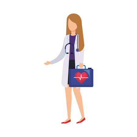 female doctor with stethoscope and medical kit vector illustration design