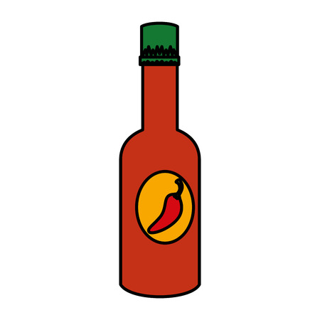 papryczka chili butelka sosu wektor ilustracja projektu