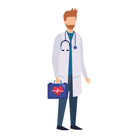 doctor with stethoscope and medical kit vector illustration design Vector Illustration