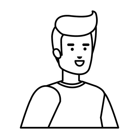 young and casual man character vector illustration design Çizim