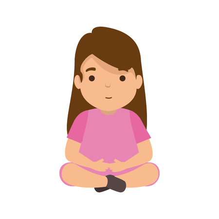 cute little girl seated character vector illustration design Ilustração