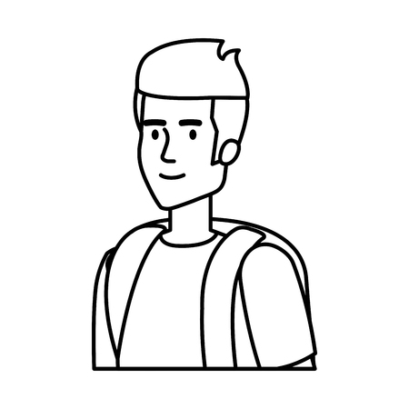 young man with travelbag avatar character vector illustration design