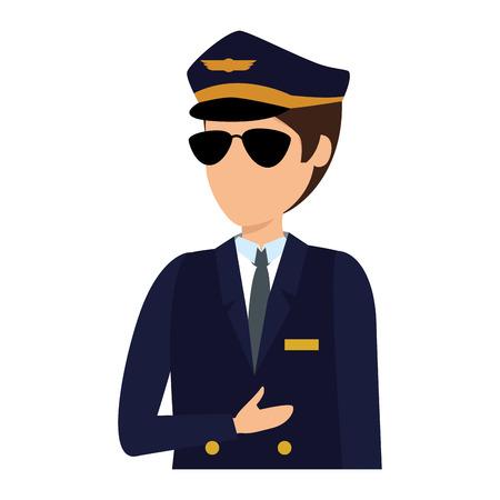 Luftfahrtpilot Avatar-Charakter-Vektor-Illustration-Design Vektorgrafik