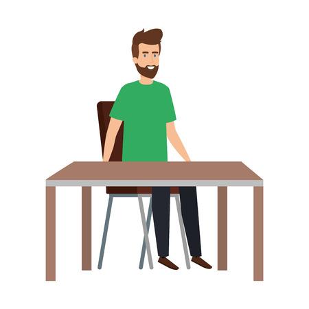 giovane e casual uomo seduto in poltrona con tavolo illustrazione vettoriale design Vettoriali