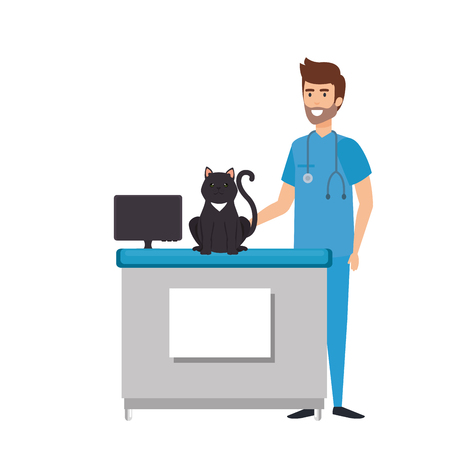 male veterinary doctor with cat vector illustration design