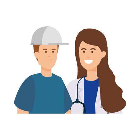 professional female doctor with builder vector illustration design