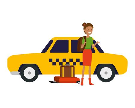 Touristische Frau mit Papierkarte und Koffer- und Hutvektorillustrationsdesign