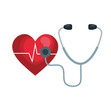 Diseño aislado del ejemplo del vector del icono del cardio del corazón