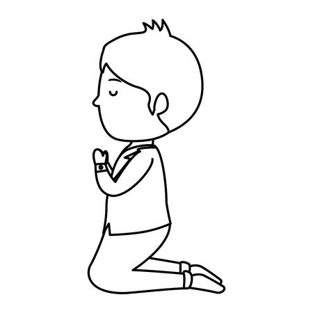 little boy kneeling first communion vector illustration design Stockfoto - 121519071