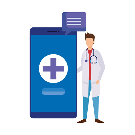 professional doctor with smartphone and speech bubble vector illustration design