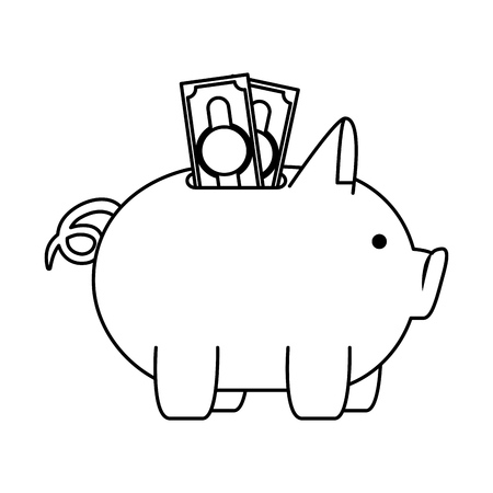 piggy money savings with bills vector illustartion design Illustration