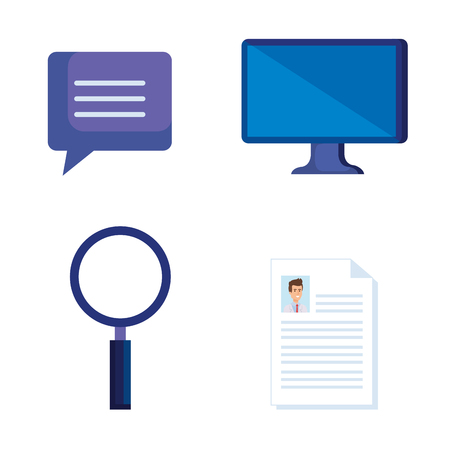 set computer technology with doctor document diagnosis vector illustration