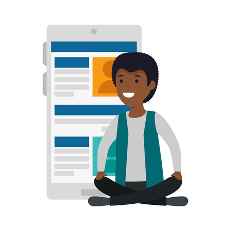 young black man in lotus position with smartphone vector illustration design
