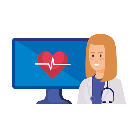 female doctor with desktop and heart cardio telemedicine service vector illustration