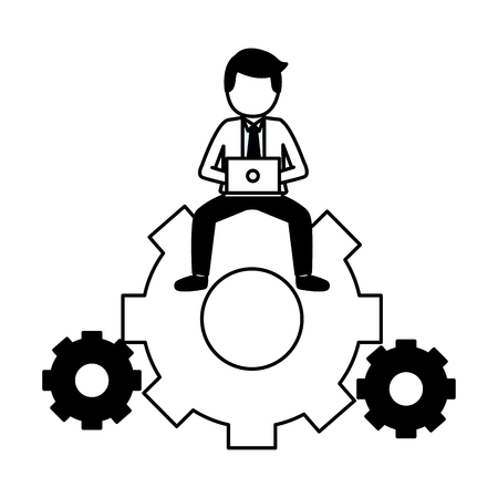businessman with laptop sitting on gear work vector illustration