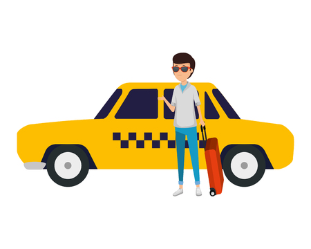tourist man with suitcases and taxi character vector illustration design Ilustração