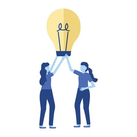 business women with bulb creativity vector illustration