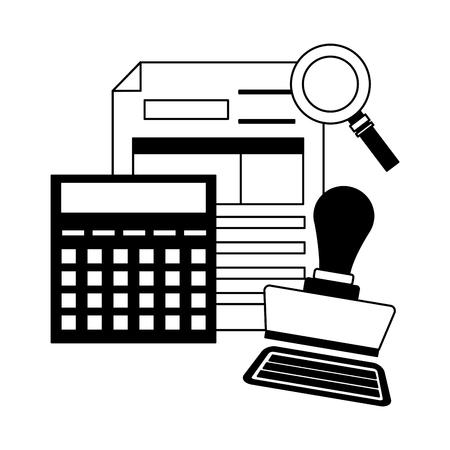 tax payment document invoice paid stamp calculator vector illustration Illusztráció