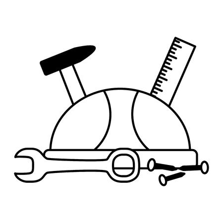 helmet ruler hammer screw spanner labour day vector illustration Foto de archivo - 122948590