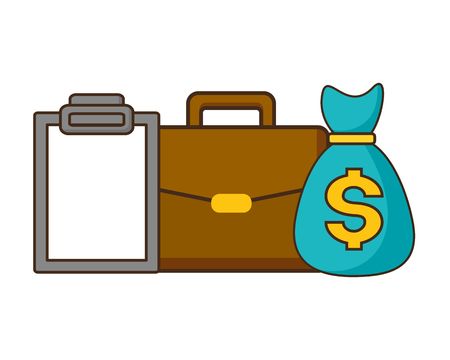 money bag suitcase clipboard tax payment vector illustration design