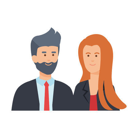 young business couple avatars characters vector illustration design