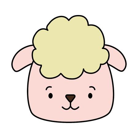 cute sheep face cartoon vector illustration design Illusztráció