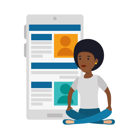 young black woman in lotus position with smartphone vector illustration design Ilustração