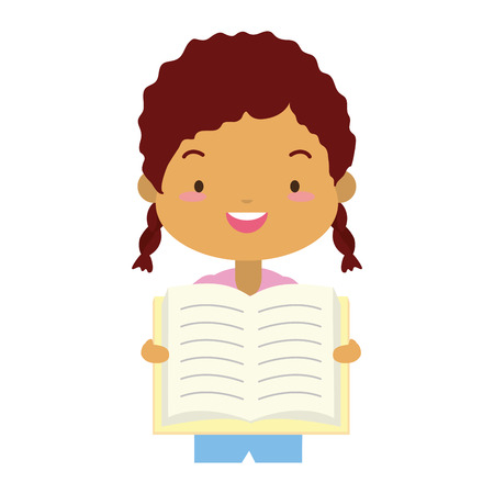girl holding textbook - world book day vector illustration Ilustrace
