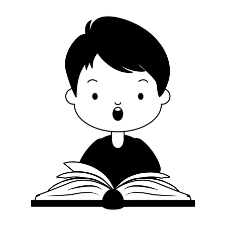 boy open textbook - world book day vector illustration