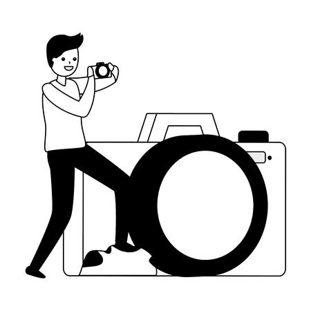 man taking photo with camera device vector illustration Zdjęcie Seryjne - 122948648