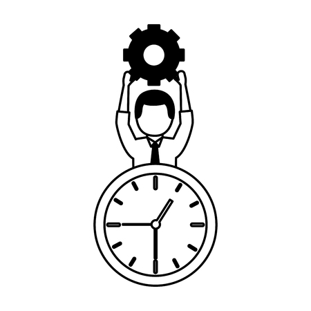 businessman holding gear clock time work vector illustration