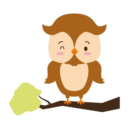 cute owl animal in the branch cartoon vector illustration