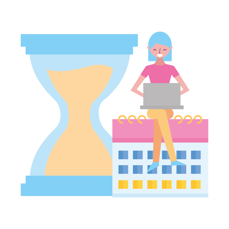 woman working laptop calendar clock hourglass vector illustration Stock Vector - 122948683