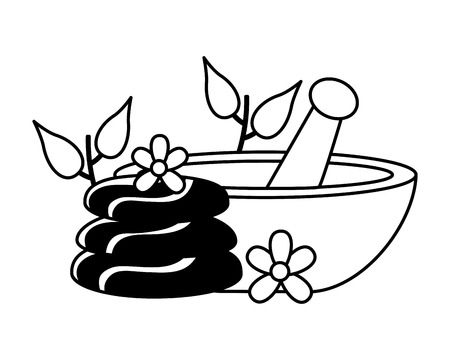 bowl stones flower spa treatment therapy vector illustration