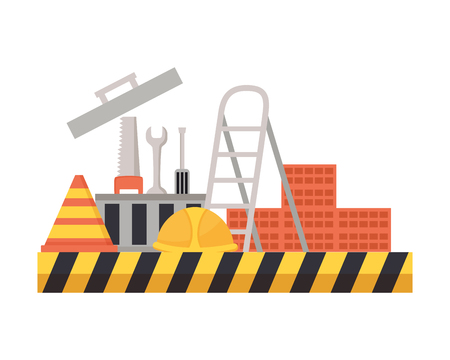 toolkit tools helmet stairs construction equipment vector illustration