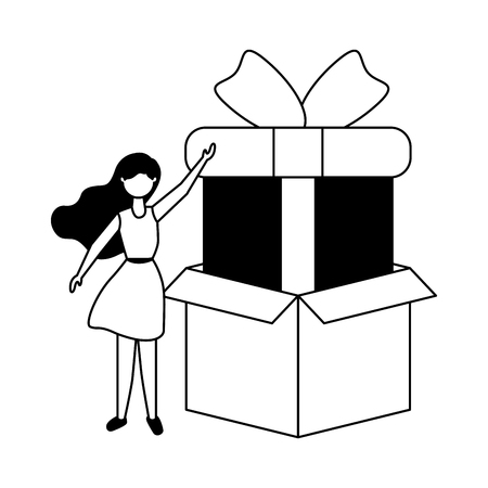 woman online shopping cardboard box and gift vector illustration