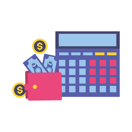 calculator and wallet money tax time payment vector illustration