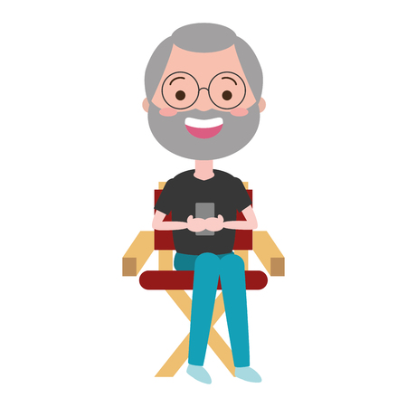 man sitting on chair avatar character vector illustration desing Illusztráció