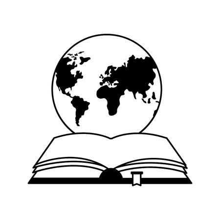open book with planet earth icon vector illustration design Vektoros illusztráció
