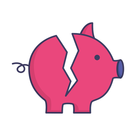 broken piggy bank on white background vector illustration 写真素材 - 121531058