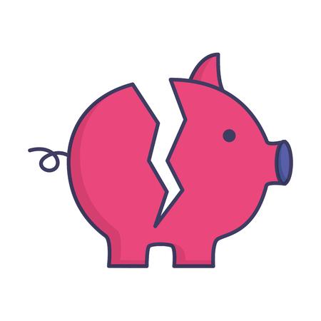 broken piggy bank on white background vector illustration