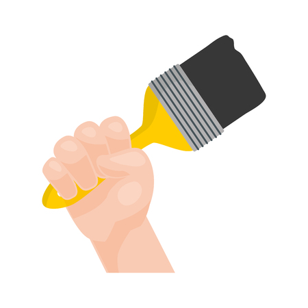 hand with brush repair tool vector illustration